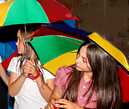 Rehearsals with umbrellas at Bowness on Solway school's production of Dazzle the musical
